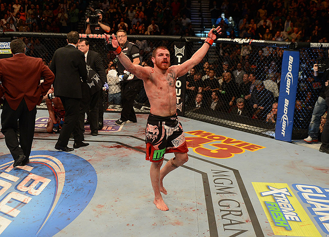 LAS VEGAS, NV - DECEMBER 29:  Jim Miller reacts to his victory over Joe Lauzon after their lightweight fight at UFC 155 on December 29, 2012 at MGM Grand Garden Arena in Las Vegas, Nevada. (Photo by Donald Miralle/Zuffa LLC/Zuffa LLC via Getty Images) *** Local Caption *** Joe Lauzon; Jim Miller