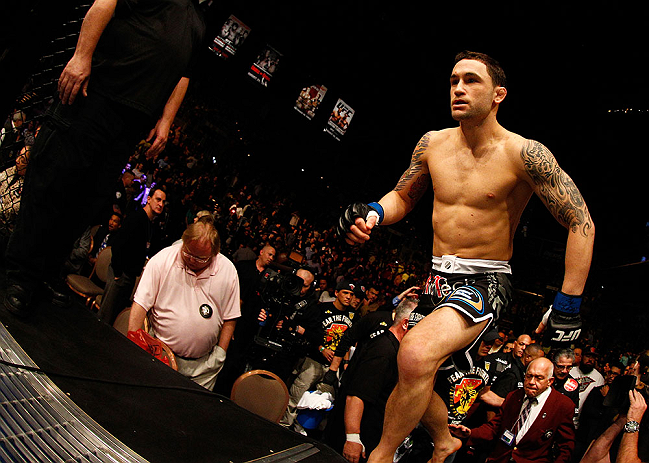 LAS VEGAS, NV - FEBRUARY 02:  Frankie Edgar enters the Octagon to face Jose Aldo before their featherweight title fight at UFC 156 on February 2, 2013 at the Mandalay Bay Events Center in Las Vegas, Nevada.  (Photo by Josh Hedges/Zuffa LLC/Zuffa LLC via Getty Images) *** Local Caption *** Jose Aldo; Frankie Edgar