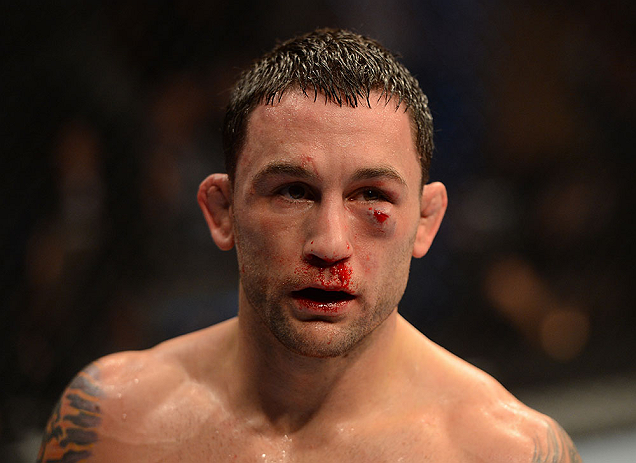 LAS VEGAS, NV - FEBRUARY 02:  Frankie Edgar in between rounds during his featherweight title fight at UFC 156 on February 2, 2013 at the Mandalay Bay Events Center in Las Vegas, Nevada.  (Photo by Donald Miralle/Zuffa LLC/Zuffa LLC via Getty Images) *** Local Caption *** Jose Aldo; Frankie Edgar