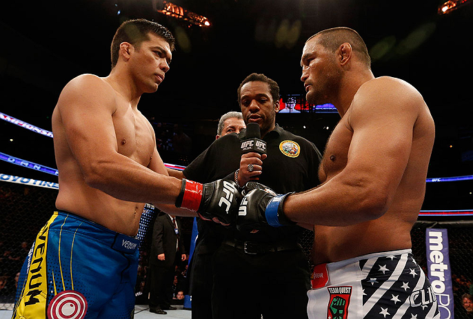 ANAHEIM, CA - FEBRUARY 23:  Lyoto Machida (left) and Dan Henderson (right) touch gloves in their light heavyweight bout during UFC 157 at Honda Center on February 23, 2013 in Anaheim, California.  (Photo by Josh Hedges/Zuffa LLC/Zuffa LLC via Getty Images) *** Local Caption *** Lyoto Machida; Dan Henderson
