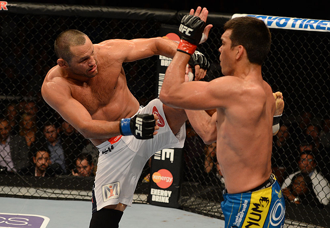ANAHEIM, CA - FEBRUARY 23:  (L-R) Dan Henderson kicks Lyoto Machida in their light heavyweight bout during UFC 157 at Honda Center on February 23, 2013 in Anaheim, California.  (Photo by Donald Miralle/Zuffa LLC/Zuffa LLC via Getty Images) *** Local Caption *** Lyoto Machida; Dan Henderson