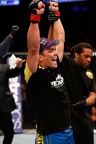 ANAHEIM, CA - FEBRUARY 23:  Lyoto Machida reacts to being declared the winner over Dan Henderson in their light heavyweight bout during UFC 157 at Honda Center on February 23, 2013 in Anaheim, California.  (Photo by Josh Hedges/Zuffa LLC/Zuffa LLC via Getty Images) *** Local Caption *** Lyoto Machida; Dan Henderson