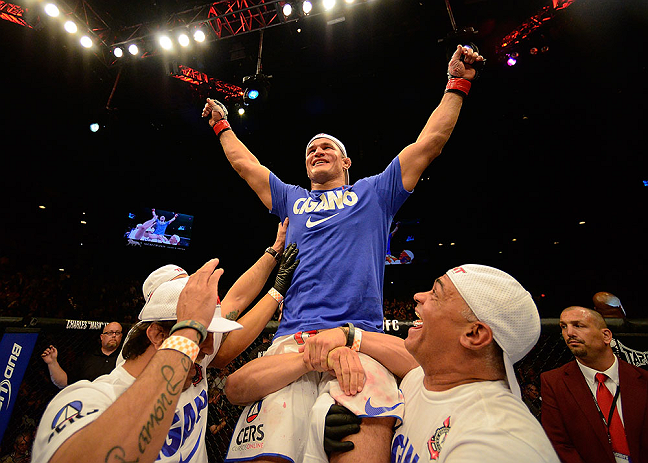 LAS VEGAS, NV - MAY 25:   Junior dos Santos reacts to his victory over Mark Hunt in their heavyweight bout during UFC 160 at the MGM Grand Garden Arena on May 25, 2013 in Las Vegas, Nevada.  (Photo by Donald Miralle/Zuffa LLC/Zuffa LLC via Getty Images)  *** Local Caption *** Junior dos Santos; Mark Hunt