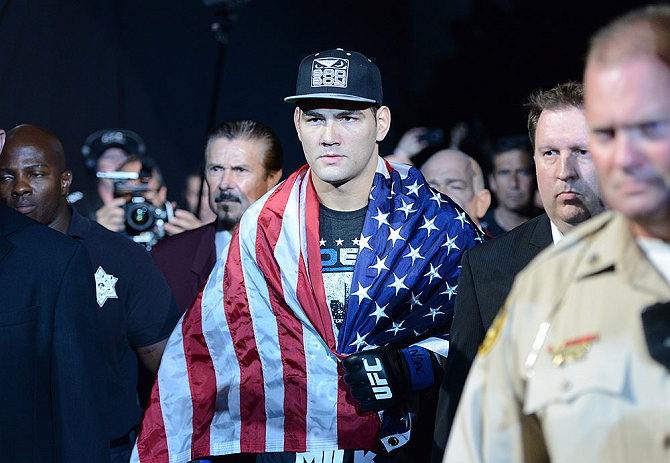 LAS VEGAS, NV - JULY 06:  Chris Weidman walks to the Octagon to face Anderson Silva in their UFC middleweight championship fight during the UFC 162 event inside the MGM Grand Garden Arena on July 6, 2013 in Las Vegas, Nevada.  (Photo by Donald Miralle/Zuffa LLC/Zuffa LLC via Getty Images) *** Local Caption *** Anderson Silva; Chris Weidman