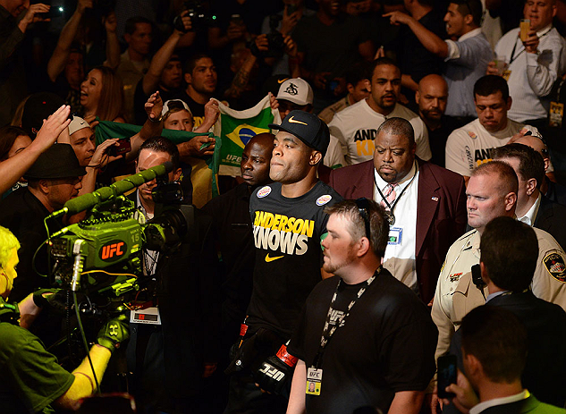 LAS VEGAS, NV - JULY 06:  Anderson Silva walks to the Octagon to face Chris Weidman in their UFC middleweight championship fight during the UFC 162 event inside the MGM Grand Garden Arena on July 6, 2013 in Las Vegas, Nevada.  (Photo by Donald Miralle/Zuffa LLC/Zuffa LLC via Getty Images) *** Local Caption *** Anderson Silva; Chris Weidman