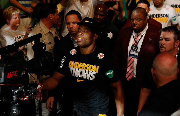 LAS VEGAS, NV - JULY 06:  Anderson Silva walks to the Octagon to face Chris Weidman in their UFC middleweight championship fight during the UFC 162 event inside the MGM Grand Garden Arena on July 6, 2013 in Las Vegas, Nevada.  (Photo by Josh Hedges/Zuffa LLC/Zuffa LLC via Getty Images) *** Local Caption *** Anderson Silva; Chris Weidman