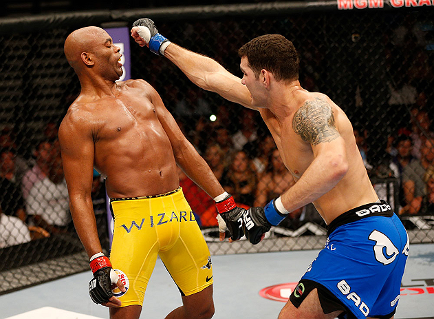 Silva dodges a punch from Weidman