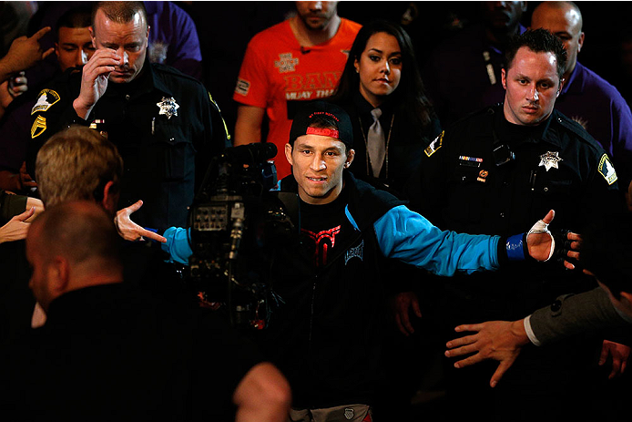 SACRAMENTO, CA - DECEMBER 14:  Joseph Benavidez walks to the Octagon to face Demetrious Johnson in their flyweight championship bout during the UFC on FOX event at Sleep Train Arena on December 14, 2013 in Sacramento, California. (Photo by Josh Hedges/Zuffa LLC/Zuffa LLC via Getty Images) *** Local Caption *** Joseph Benavidez
