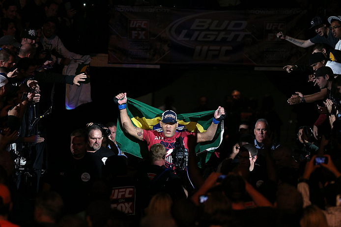 MINNEAPOLIS, MN - OCTOBER 05:  Antonio Silva enters the arena before his heavyweight fight against Travis Browne at the UFC on FX event at Target Center on October 5, 2012 in Minneapolis, Minnesota.  (Photo by Josh Hedges/Zuffa LLC/Zuffa LLC via Getty Images)