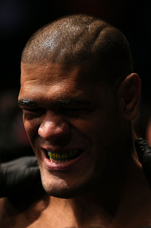 "MINNEAPOLIS, MN - OCTOBER 05:  Antonio ""Bigfoot"" Silva prepares to enter the Octagon before his heavyweight fight against Travis Browne at the UFC on FX event at Target Center on October 5, 2012 in Minneapolis, Minnesota.  (Photo by Josh Hedges/Zuffa LLC/Zuffa LLC via Getty Images)"