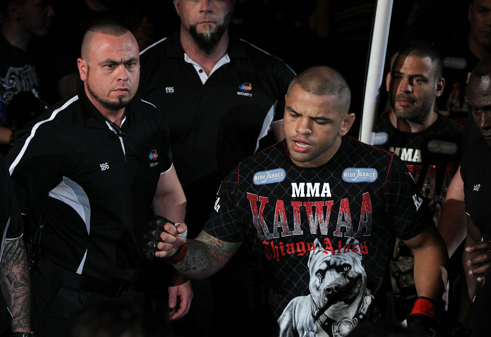 SYDNEY, AUSTRALIA - MARCH 03:  Thiago Alves enters the arena before his welterweight bout against Martin Kampmann during the UFC on FX event at Allphones Arena on March 3, 2012 in Sydney, Australia.  (Photo by Josh Hedges/Zuffa LLC/Zuffa LLC via Getty Images) *** Local Caption *** Thiago Alves