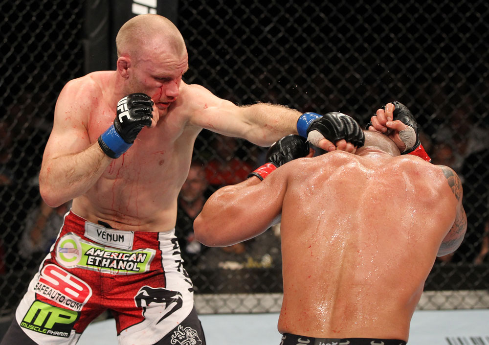 SYDNEY, AUSTRALIA - MARCH 03:  (L-R) Martin Kampmann punches Thiago Alves in a welterweight bout during the UFC on FX event at Allphones Arena on March 3, 2012 in Sydney, Australia.  (Photo by Josh Hedges/Zuffa LLC/Zuffa LLC via Getty Images) *** Local Caption *** Thiago Alves; Martin Kampmann