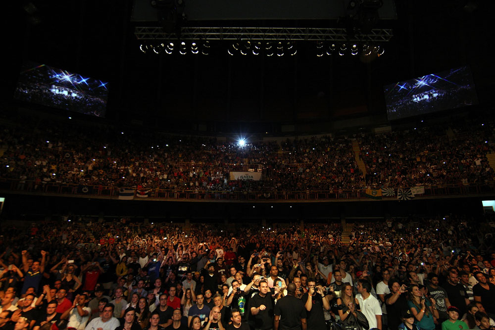 BELO HORIZONTE, BRAZIL - JUNE 23:   A general view of the fans in attendance during the UFC 147 event at Estadio Jornalista Felipe Drummond on June 23, 2012 in Belo Horizonte, Brazil.  (Photo by Josh Hedges/Zuffa LLC/Zuffa LLC via Getty Images)