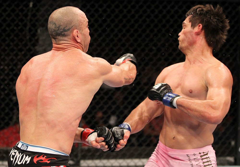 BELO HORIZONTE, BRAZIL - JUNE 23:   (L-R) Wanderlei Silva punches Rich Franklin during their UFC 147 catchweight bout at Estadio Jornalista Felipe Drummond on June 23, 2012 in Belo Horizonte, Brazil.  (Photo by Josh Hedges/Zuffa LLC/Zuffa LLC via Getty Images)