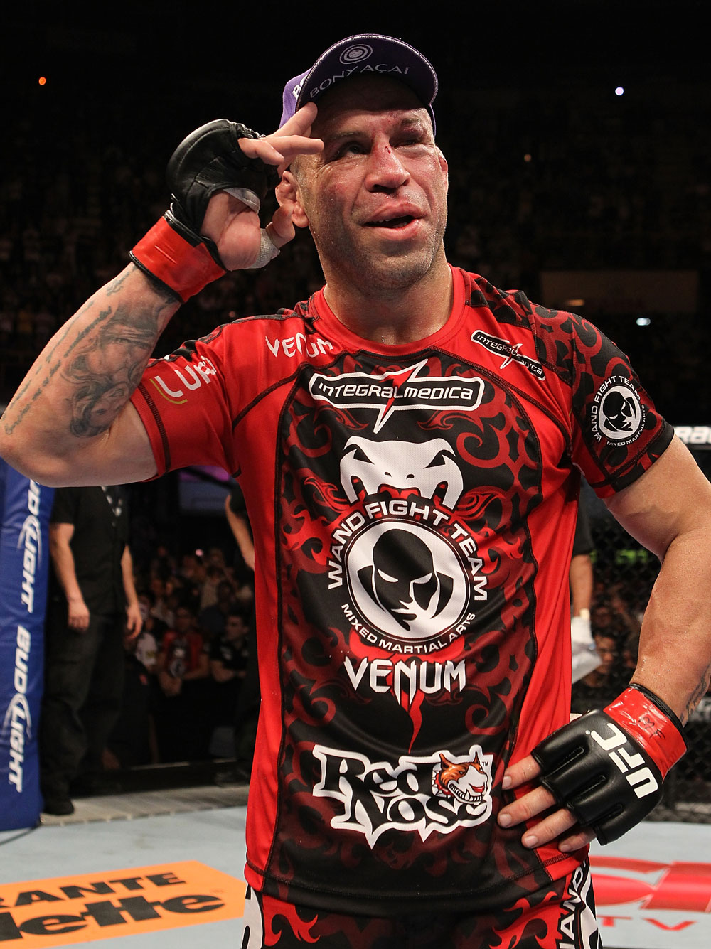 BELO HORIZONTE, BRAZIL - JUNE 23:   Wanderlei Silva stands in the Octagon after his UFC 147 catchweight bout against Rich Franklin at Estadio Jornalista Felipe Drummond on June 23, 2012 in Belo Horizonte, Brazil.  (Photo by Josh Hedges/Zuffa LLC/Zuffa LLC via Getty Images)
