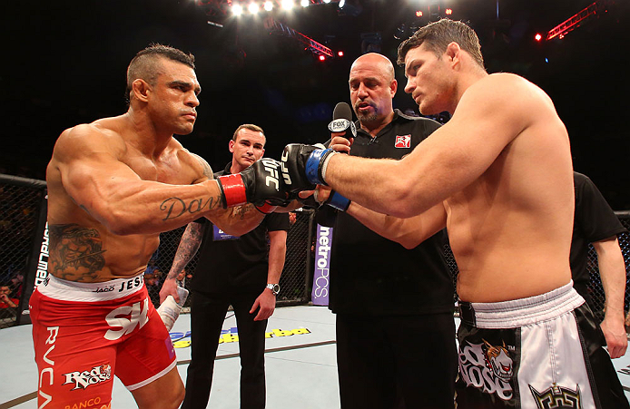 SAO PAULO, BRAZIL - JANUARY 19:  (L-R) Opponents Vitor Belfort and Michael Bisping face off before their middleweight fight at the UFC on FX event on January 19, 2013 at Ibirapuera Gymnasium in Sao Paulo, Brazil. (Photo by Josh Hedges/Zuffa LLC/Zuffa LLC via Getty Images)