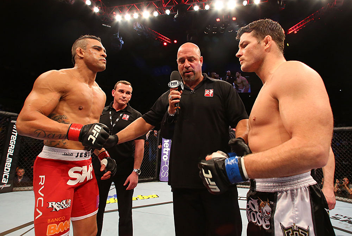 SAO PAULO, BRAZIL - JANUARY 19:  (L-R) Opponents Vitor Belfort and Michael Bisping face off before in their middleweight fight at the UFC on FX event on January 19, 2013 at Ibirapuera Gymnasium in Sao Paulo, Brazil. (Photo by Josh Hedges/Zuffa LLC/Zuffa LLC via Getty Images)