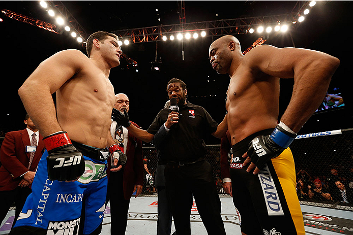 LAS VEGAS, NV - DECEMBER 28:  (L-R) Chris Weidman and Anderson Silva face off before their UFC middleweight championship bout during the UFC 168 event at the MGM Grand Garden Arena on December 28, 2013 in Las Vegas, Nevada. (Photo by Josh Hedges/Zuffa LLC/Zuffa LLC via Getty Images) *** Local Caption *** Chris Weidman; Anderson Silva