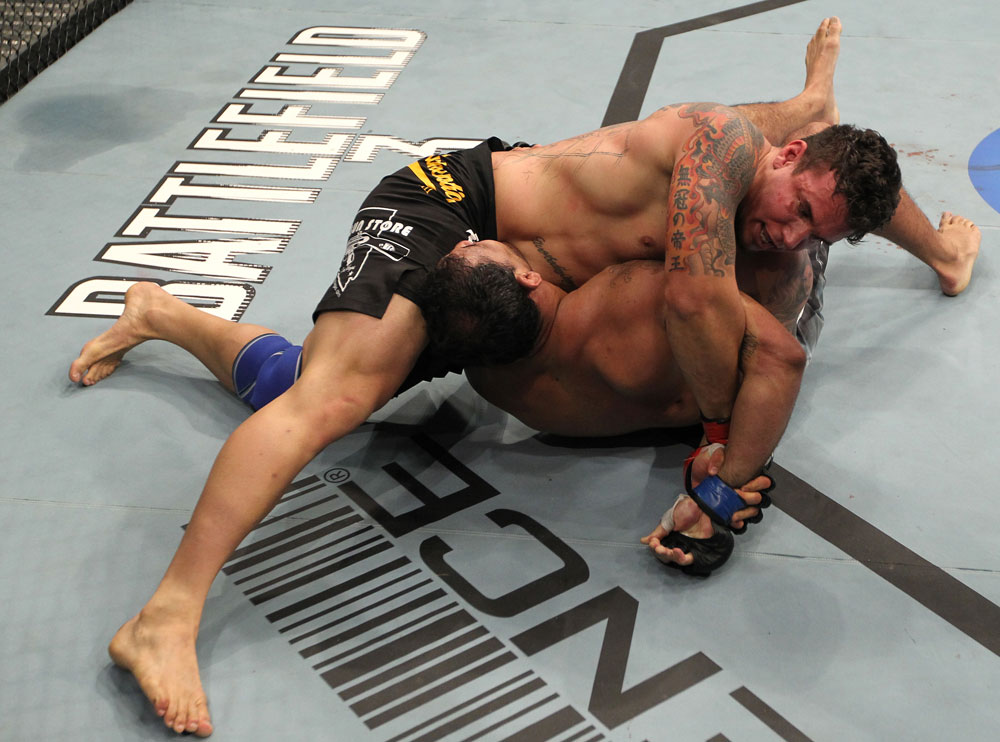 TORONTO, ON - DECEMBER 10:  Frank Mir (top) secures an arm lock against Antonio Rodrigo Nogueira during the UFC 140 event at Air Canada Centre on December 10, 2011 in Toronto, Ontario, Canada.  (Photo by Nick Laham/Zuffa LLC/Zuffa LLC via Getty Images)