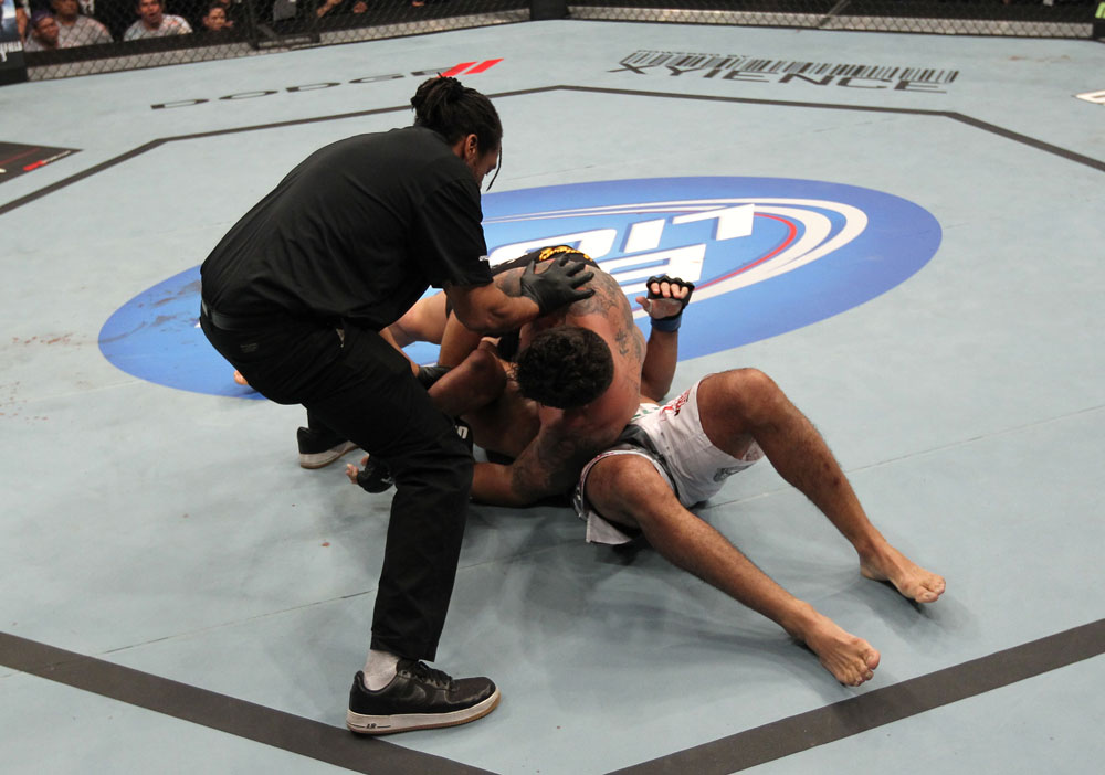 TORONTO, ON - DECEMBER 10:  Frank Mir (top) defeats Antonio Rodrigo Nogueira by TKO due to a separated shoulder from an arm lock during the UFC 140 event at Air Canada Centre on December 10, 2011 in Toronto, Ontario, Canada.  (Photo by Nick Laham/Zuffa LLC/Zuffa LLC via Getty Images)