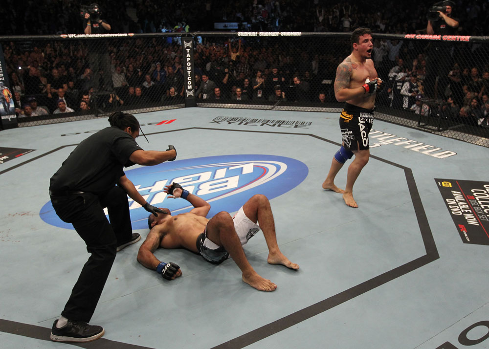 TORONTO, ON - DECEMBER 10:  Frank Mir (R) reacts after defeating Antonio Rodrigo Nogueira by TKO during the UFC 140 event at Air Canada Centre on December 10, 2011 in Toronto, Ontario, Canada.  (Photo by Nick Laham/Zuffa LLC/Zuffa LLC via Getty Images)