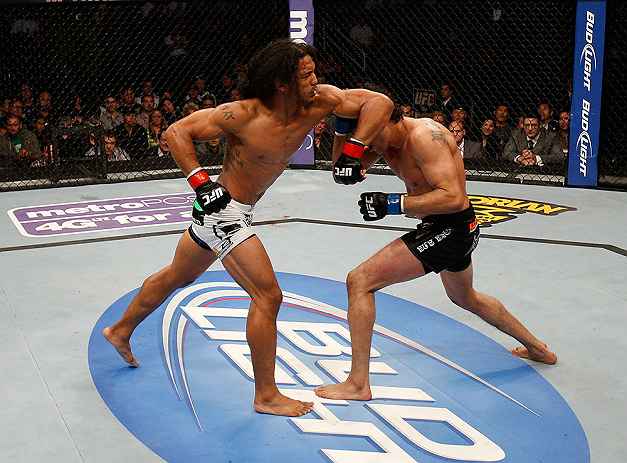 SAN JOSE, CA - APRIL 20:   (L-R) Benson Henderson elbows Gilbert Melendez in their lightweight championship bout during the UFC on FOX event during the UFC on FOX event at the HP Pavilion on April 20, 2013 in San Jose, California.  (Photo by Josh Hedges/Zuffa LLC/Zuffa LLC via Getty Images)  *** Local Caption *** Benson Henderson; Gilbert Melendez