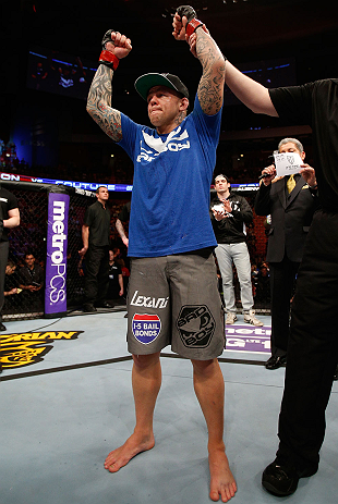 STOCKHOLM, SWEDEN - APRIL 06:  Ross Pearson reacts after defeating Ryan Couture in their lightweight fight at the Ericsson Globe Arena on April 6, 2013 in Stockholm, Sweden.  (Photo by Josh Hedges/Zuffa LLC/Zuffa LLC via Getty Images)