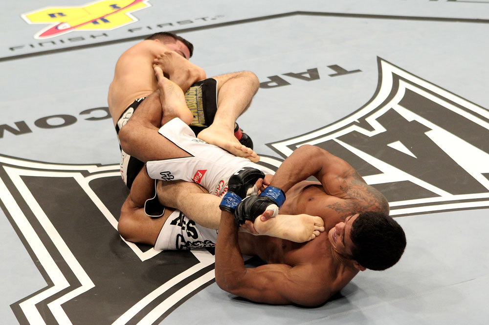 Carlos Eduardo Rocha (R) of Brazil fights with Kris McCray of the USA during their UFC Welterweight bout at the Konig Pilsner Arena on November 13, 2010 in Oberhausen, Germany. (Photo by Josh Hedges/Zuffa LLC/Zuffa LLC)
