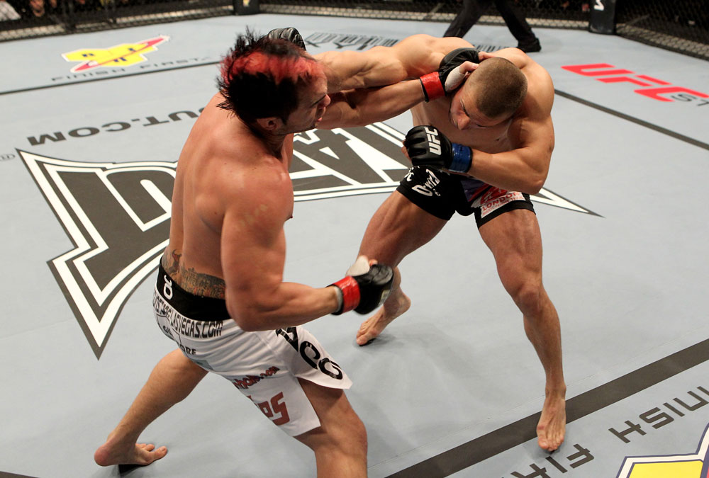 Seth Petruzelli of the USA fights with Karlos Vemola (R) of the Czech Republic during their UFC Light Heavyweight bout at the Konig Pilsner Arena on November 13, 2010 in Oberhausen, Germany. (Photo by Josh Hedges/Zuffa LLC/Zuffa LLC)