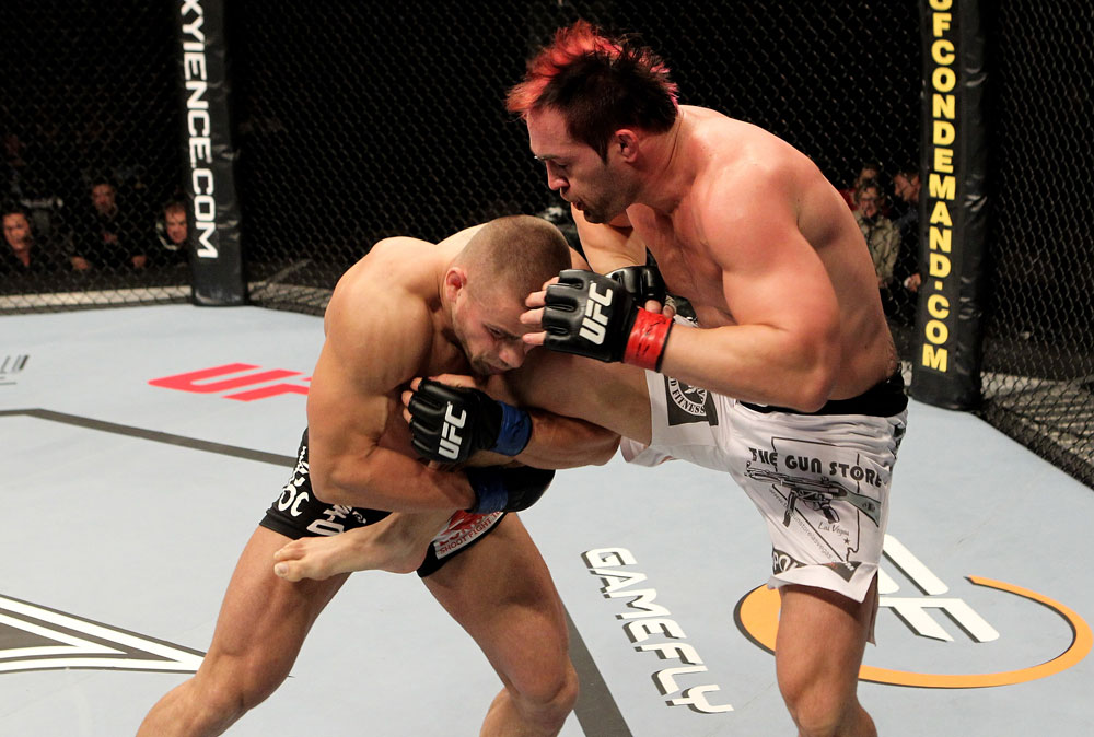 Seth Petruzelli of the USA fights with Karlos Vemola (L) of the Czech Republic during their UFC Light Heavyweight bout at the Konig Pilsner Arena on November 13, 2010 in Oberhausen, Germany. (Photo by Josh Hedges/Zuffa LLC/Zuffa LLC via Getty Images)