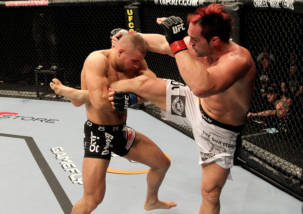 Seth Petruzelli of the USA fights with Karlos Vemola (L) of the Czech Republic during their UFC Light Heavyweight bout at the Konig Pilsner Arena on November 13 2010 in Oberhausen, Germany. (Photo by Josh Hedges/Zuffa LLC/Zuffa LLC)