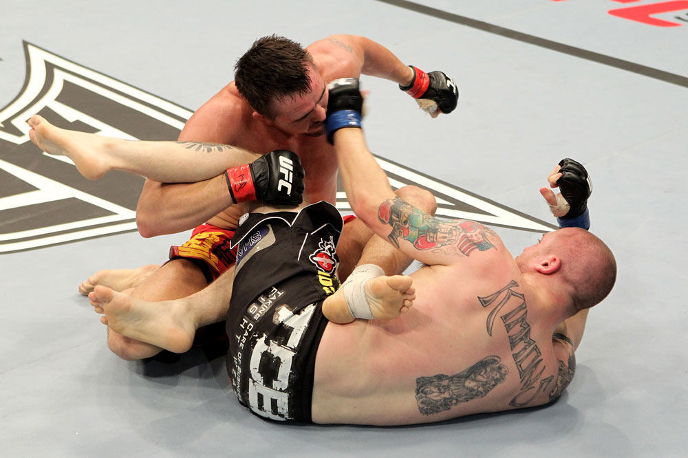 Kyle Noke (L) of Australia fights with Rob Kimmons of the USA during their UFC Middleweight bout at the Konig Pilsner Arena on November 13, 2010 in Oberhausen, Germany. (Photo by Josh Hedges/Zuffa LLC/Zuffa LLC)