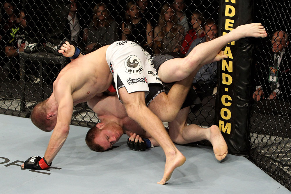 Pascal Krauss of Germany fights Marc Scanlon (R) of the United Kingdom during their UFC Welterweight bout at the Konig Pilsner Arena on November 13, 2010 in Oberhausen, Germany. (Photo by Josh Hedges/Zuffa LLC/Zuffa LLC)