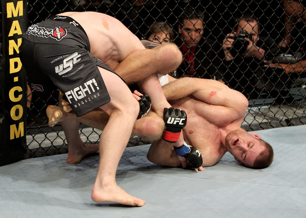 Pascal Krauss of Germany fights Marc Scanlon (L) of the United Kingdom during their UFC Welterweight bout at the Konig Pilsner Arena on November 13, 2010 in Oberhausen, Germany. (Photo by Josh Hedges/Zuffa LLC/Zuffa LLC)