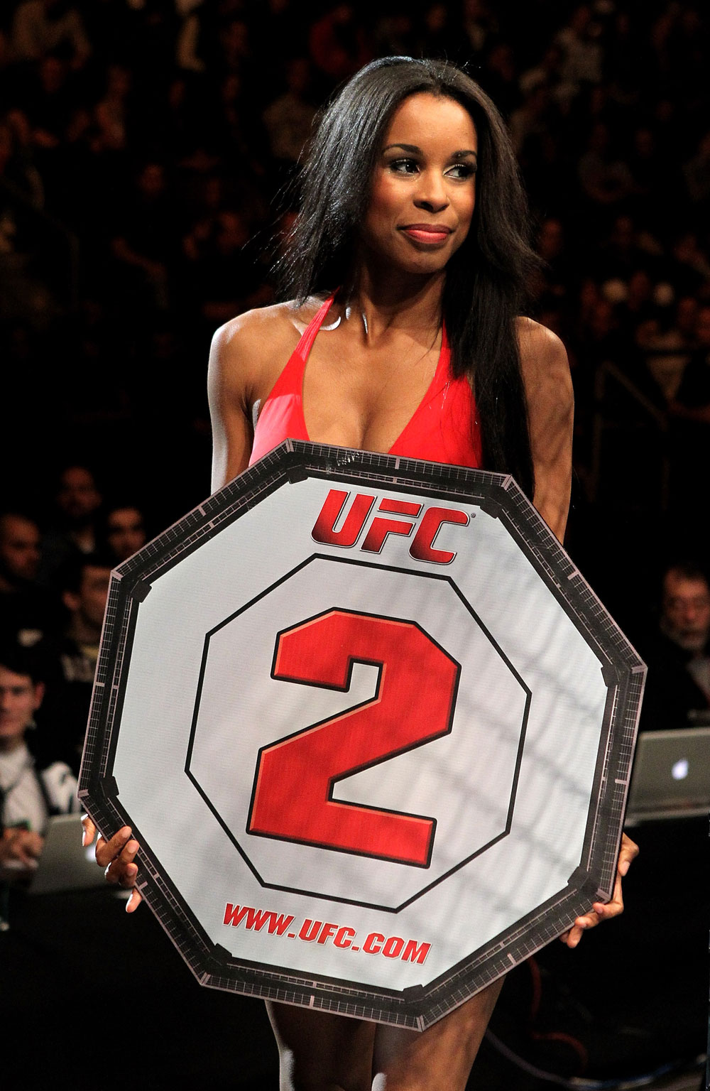 A UFC ring girl parades around the ring during the Pascal Krauss of Germany versus Marc Scanlon of the United Kingdom UFC Welterweight bout at the Konig Pilsner Arena on November 13, 2010 in Oberhausen, Germany. (Photo by Josh Hedges/Zuffa LLC/Zuffa LLC)