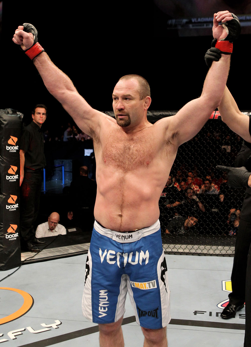 Vladimir Matyushenko Belarus celebrates his victory by tko in the 1st round over Alexandre Ferreira of Brazil during their UFC Light-Heavyweight bout at the Konig Pilsner Arena on November 13, 2010 in Oberhausen, Germany. (Photo by Josh Hedges/Zuffa LLC/Zuffa LLC)
