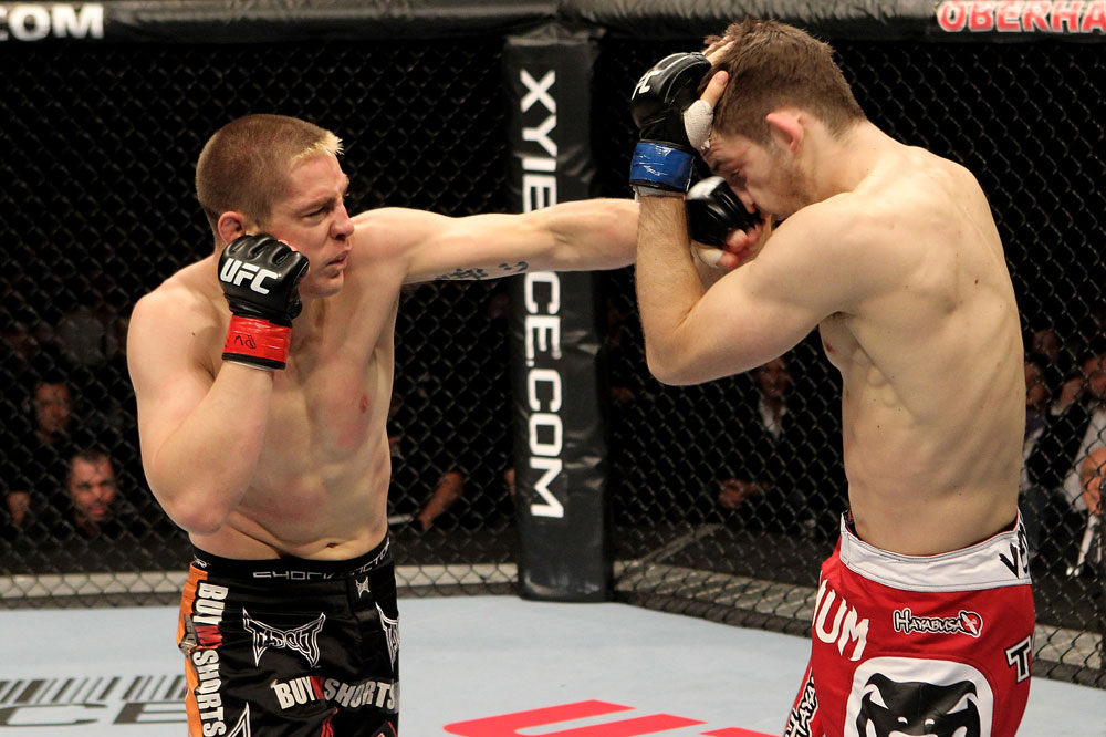 Duane Ludwig (L) of the USA fights Nick Osipczak of the United Kingdom during their UFC Welterweight bout at the Konig Pilsner Arena on November 13, 2010 in Oberhausen, Germany. (Photo by Josh Hedges/Zuffa LLC/Zuffa LLC)