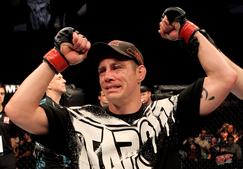 Duane Ludwig of the USA celebrates victory by a unanimous points decision over Nick Osipczak of the United Kingdom during their UFC Welterweight bout at the Konig Pilsner Arena on November 13, 2010 in Oberhausen, Germany. (Photo by Josh Hedges/Zuffa LLC/Zuffa LLC)