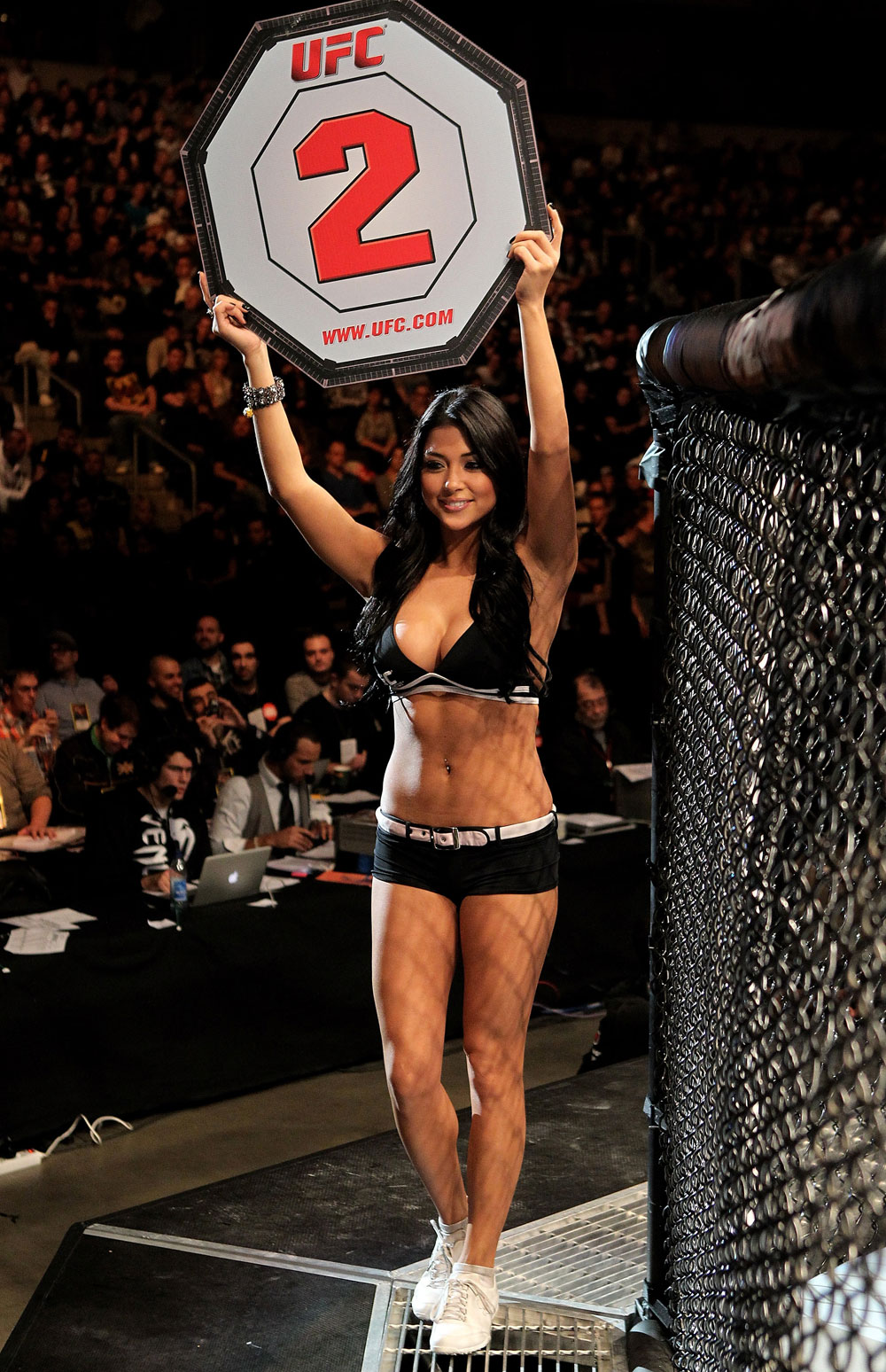 Ring girl Arianny Celeste parades around the ring during UFC 122 at the Konig Pilsner Arena on November 13, 2010 in Oberhausen, Germany. (Photo by Josh Hedges/Zuffa LLC/Zuffa LLC)