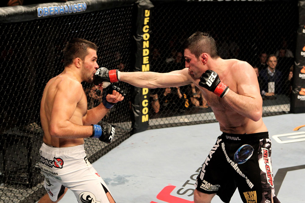 Amir Sadollah (R) of the USA fights Peter Sobatta of Germany during their UFC Welterweight bout at the Konig Pilsner Arena on November 13, 2010 in Oberhausen, Germany. (Photo by Josh Hedges/Zuffa LLC/Zuffa LLC)
