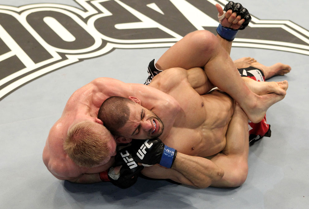 Denis Siver (L) of Germany fights Andre Winner of England during their UFC Lightweight bout at the Konig Pilsner Arena on November 13, 2010 in Oberhausen, Germany. (Photo by Josh Hedges/Zuffa LLC/Zuffa LLC)