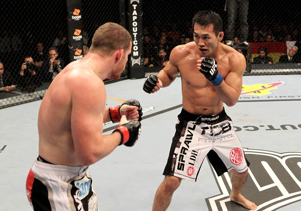 Nate Marquardt of the USA fights Yushin Okami (R) of Japan during their UFC Middleweight Championship Eliminator bout at the Konig Pilsner Arena on November 13, 2010 in Oberhausen, Germany. (Photo by Josh Hedges/Zuffa LLC/Zuffa LLC)