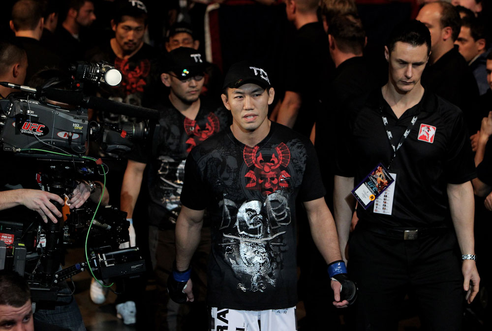 Yushin Okami of Japan walks out to fight Nate Marquardt of the USA during their UFC Middleweight Championship Eliminator bout at the Konig Pilsner Arena on November 13, 2010 in Oberhausen, Germany. (Photo by Josh Hedges/Zuffa LLC/Zuffa LLC)
