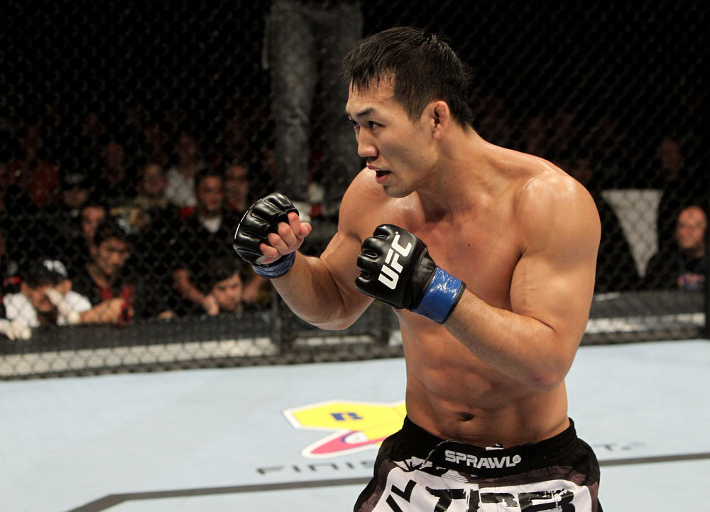 Yushin Okami of Japan in action during his UFC Middleweight Championship Eliminator bout at the Konig Pilsner Arena on November 13, 2010 in Oberhausen, Germany. (Photo by Josh Hedges/Zuffa LLC/Zuffa LLC via Getty Images)