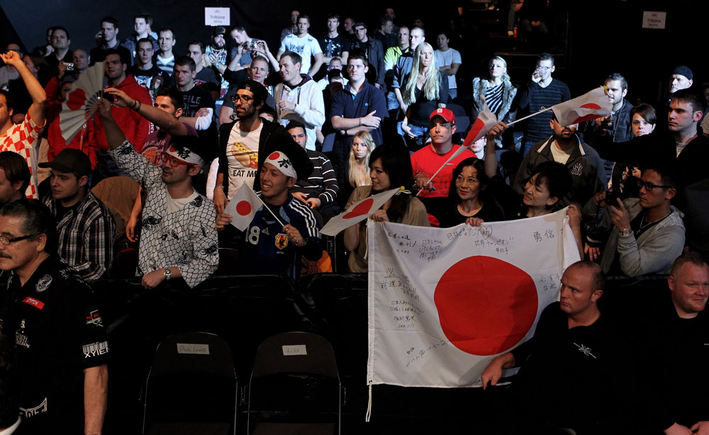 Japanese fans show their support for Yushin Okami of Japan during his UFC Middleweight Championship Eliminator bout at the Konig Pilsner Arena on November 13, 2010 in Oberhausen, Germany. (Photo by Josh Hedges/Zuffa LLC/Zuffa LLC via Getty Images)
