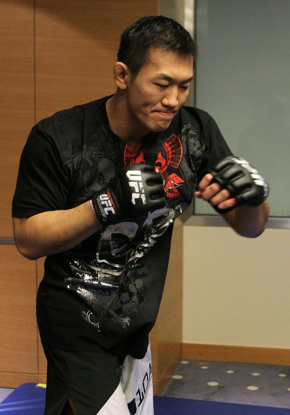 Yushin Okami of Japan works out at the UFC 122 open workouts at the Hilton Hotel on November 10,  2010 in Dusseldorf, Germany.  (Photo by Josh Hedges/Zuffa LLC via Getty Images)