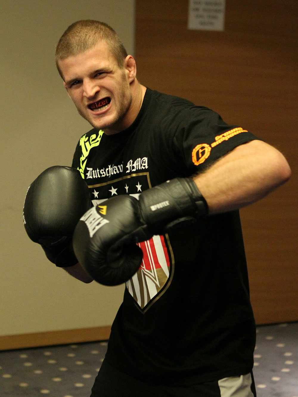 Pascal Krauss of Germany works out at the UFC 122 open workouts at the Hilton Hotel on November 10,  2010 in Dusseldorf, Germany.  (Photo by Josh Hedges/Zuffa LLC via Getty Images)