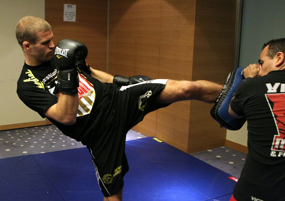 Pascal Krauss of Germany (L) works out at the UFC 122 open workouts at the Hilton Hotel on November 10,  2010 in Dusseldorf, Germany.  (Photo by Josh Hedges/Zuffa LLC via Getty Images)