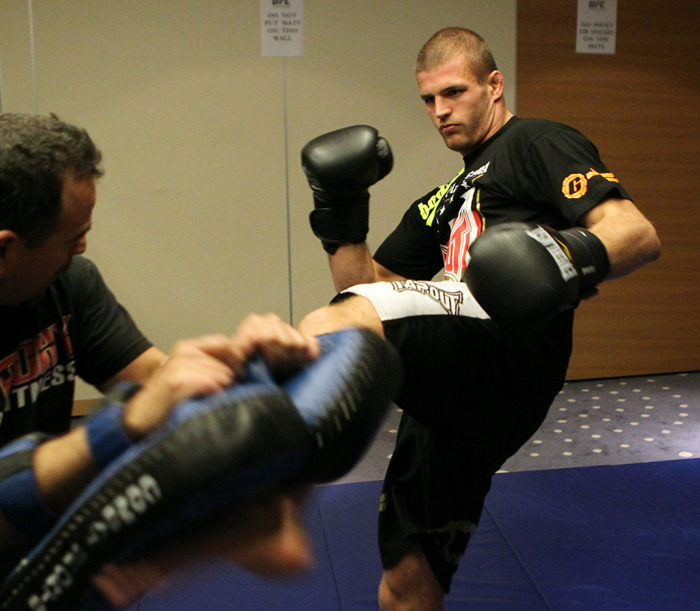Pascal Krauss of Germany (R) works out at the UFC 122 open workouts at the Hilton Hotel on November 10,  2010 in Dusseldorf, Germany.  (Photo by Josh Hedges/Zuffa LLC via Getty Images)