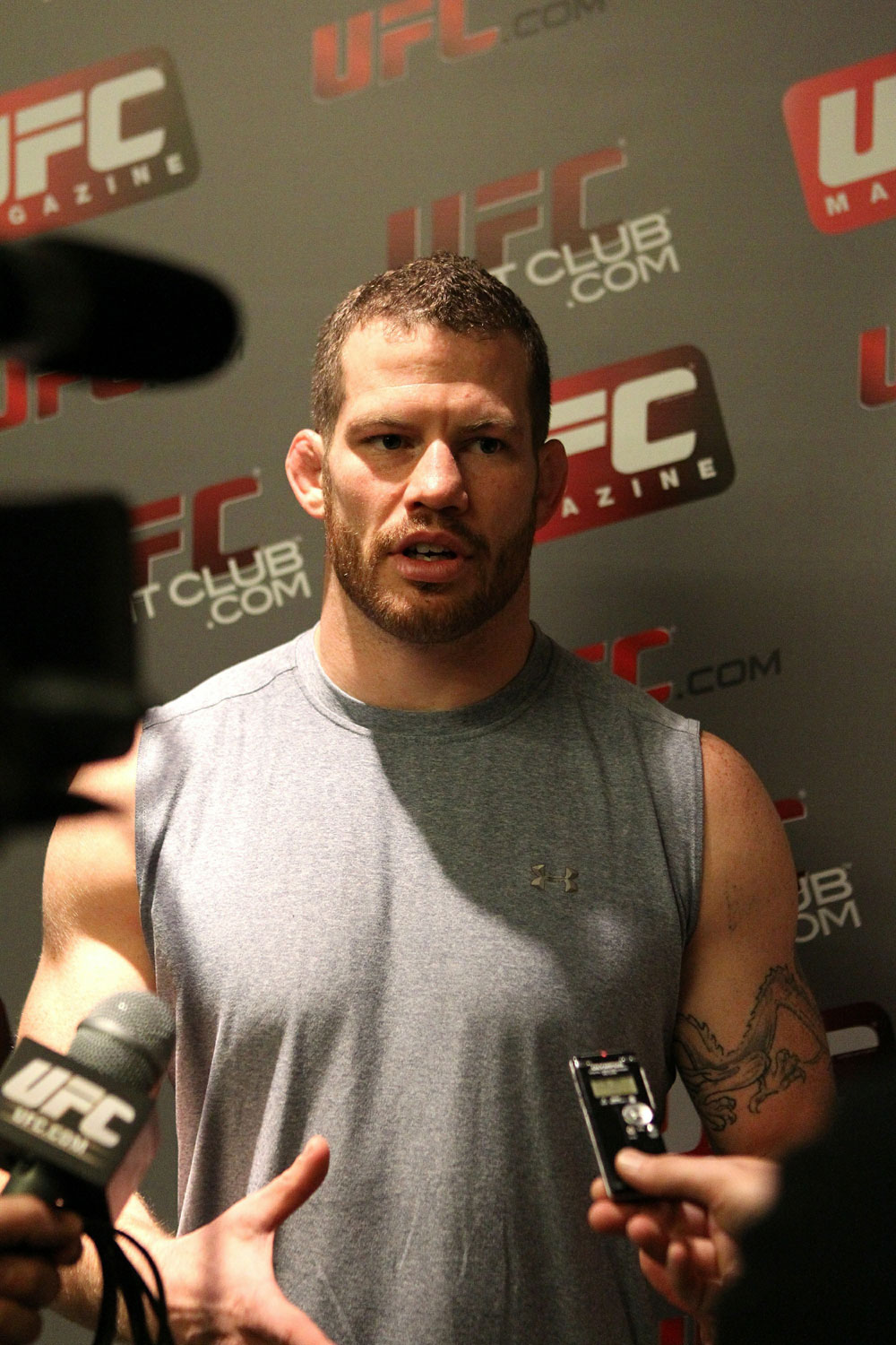 Nate Marquardt is interviewed during the UFC 122 open workouts at the Hilton Hotel on November 10,  2010 in Dusseldorf, Germany.  (Photo by Josh Hedges/Zuffa LLC via Getty Images)